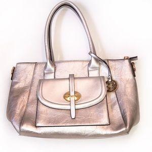 Handbags - NWOT Silver Leather Shoulder & Tote Bag
